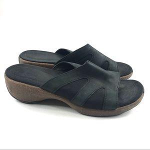 Merrell Sundial Leather Slide Sandals Sz 8 Black